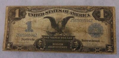 1899 Black Eagle Large Silver Certificate Note 1$ One Dollar Ungraded Worn