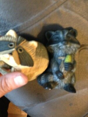 Vintage Set Of Stone Raccoon And Ceramic Raccoon Figurines With Free Shipping