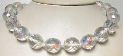 Vintage 60's Chunky 14 MM Glass AB Crystal Bead Necklace Clear
