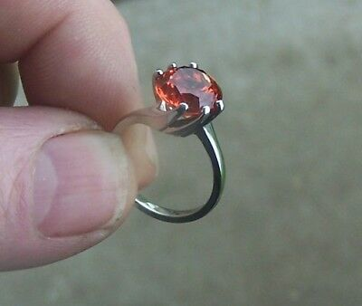 STRELL 14K White Gold Ladies CREATED ORANGE SAPPHIRE RING 5.06 grams Size 6.5