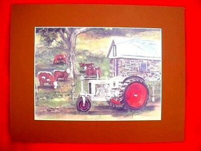 "CASE WATERCOLOR TRACTOR PRINT -  by COLLEEN CARSON - 11"" X 14"" MATTED BY ARTIST"