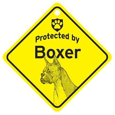 Protected by Boxer Dog Window Sign Made in USA