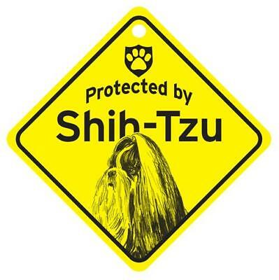 Protected by Shih Tzu Dog Window Sign Made in USA