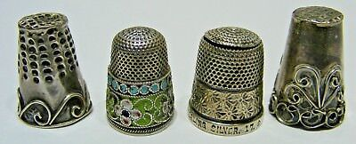 4x ANTIQUE SILVER STERLING & .875 SEWING THIMBLES RUSSIA/MEXICO/ENGLAND