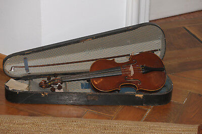 A violin with wooden case and bow   (old, antique)
