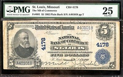 $5 1902 PMG 25 Very Fine First National Bank Commerce-St. Louis, Missouri AB674