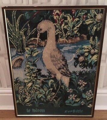Vintage Antique French Aubusson Style Heron / Bird Framed Completed Tapestry