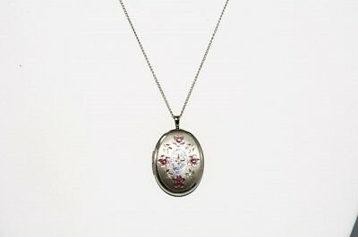 Pink Enamel Flower Design Open Locket Necklace .925 Sterling Silver