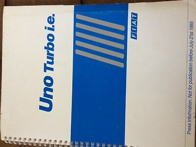 FIAT Uno Turbo press release kit from 21st July 1985 UK launch