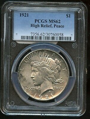 1921 PCGS MS62 High Relief United States Peace Silver Dollar $1 Coin SS26
