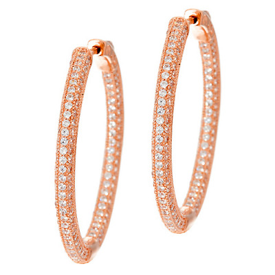94e89d569 Hello Kitty For Qvc Sterling Diamonique Luxe Pave Hoop Earrings