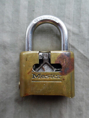 antique MASTER combination CUT A WAY advertising sales padlock key lock w COMBO