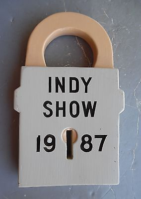 vintage antique MAIL BOX story book 1987 INDY show large wood padlock key lock