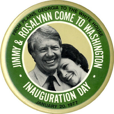 1977 Jimmy & Rosalynn Carter PLAINS TO WHITE HOUSE Inauguration Button (2192)