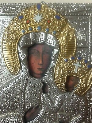 Madonna And Child Metal Icon Hanging Orthodox Heavily Embellished