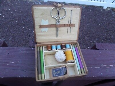 Small Antique Sewing Box With Sewing Accessories, Case In Rough Shape