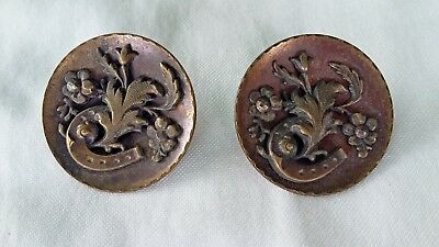 """q) Two Big Antique Victorian Layered Horseshoe Cut Steel & Brass Buttons 1 1/4"""""""