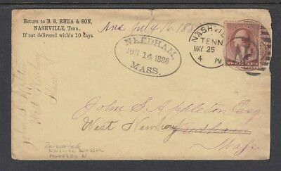 #210 - 1886 FORWARDED added stamp NEEDHAM MS. Cancel cover - Great