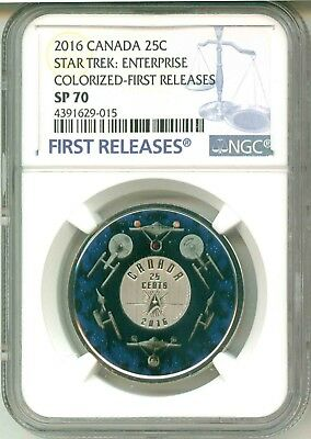 2016 Canada 25c Star Trek : Enterprise Colorized First Release NGC SP70