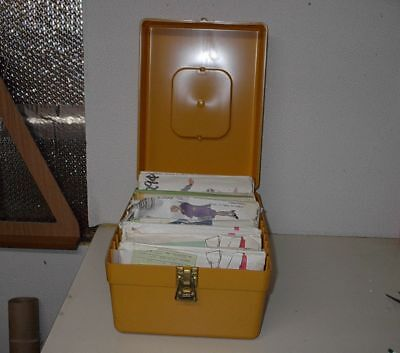 PLASTIC HARVEST Gold Sewing Pattern Storage Case W 15 Assorted ...
