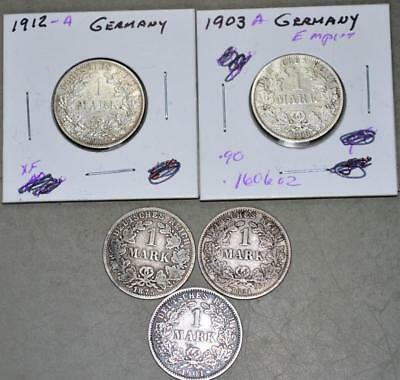 Germany-Empire 1875-C 1881-G 1901-J 1903-A 1912-A 1 Mark Lot of 5 Silver Coins