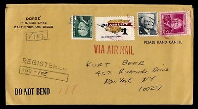 $1 Airlift #1341 On 1973 Registered Baltimore Md Cancel