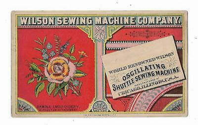 Old Trade Card Wilson Sewing Machine Co Chicago Oscillating Shuttle Embroidery