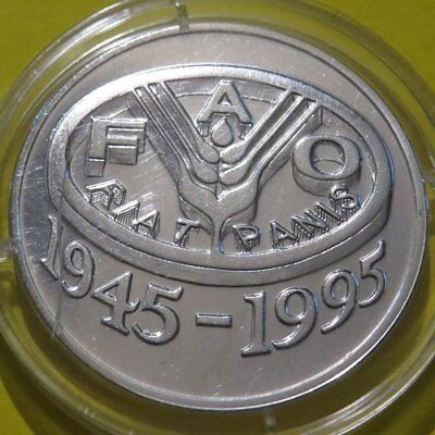 1995 ROMANIA 100 Lei Silver Coin BU Cond. FAO Food and Agriculture Organization