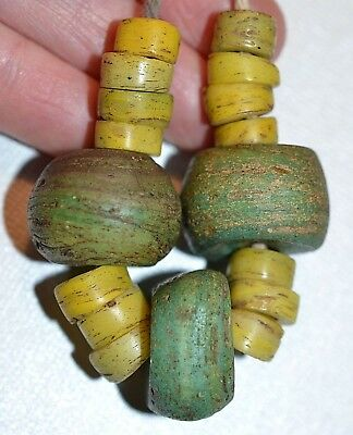 Ancient Green & Yellow Wound Glass Hebron Beads West Bank Israel, African Trade