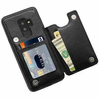 Leather Samsung Galaxy S9 Plus Case Credit Card Holder Magnetic Shockproof Cover