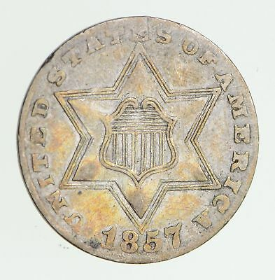 1857 Silver Three-Cent Piece - Circulated *7495