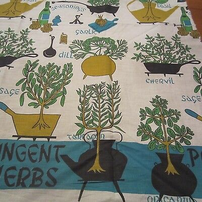 45CM X 93CM Vintage Cotton Fabric 1950S Blue Green Novelty Border Herbs Plants