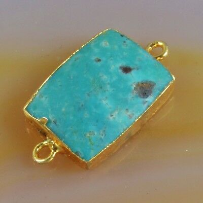 16x12mm Natural Genuine Turquoise Connector Gold Plated B062815
