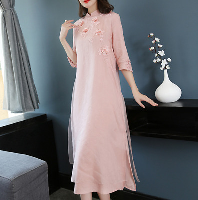 Summer New Women's Retro Chinese Style Dress Women's Retro Long National Style