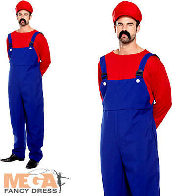 Super Mario Workman Mens Fancy Dress Plumber Video Game Adult Costume 80s Outfit