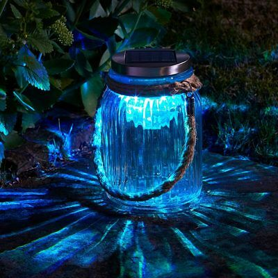 Solar Power Outdoor Colour Changing LED Mason Jar Lantern Light | Garden Patio