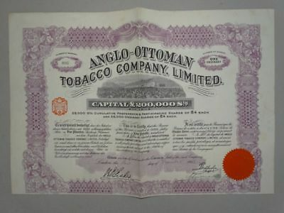 Anglo-Ottoman Tobacco Company - Aktie Wertpapier Coupons England - 1913