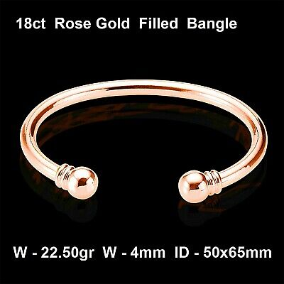 Bangle Cuff Bracelet Genuine Real 18K Rose G/f Gold Solid Antique Golf Design