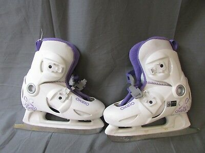 Oxelo White Ice Skating Boots Size 1.5-3  ##keg 23 Jt