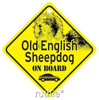 Old English Sheepdog On Board Window Sign Made in USA