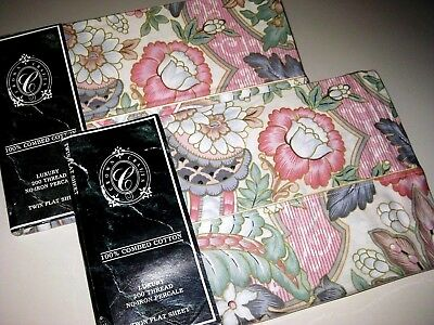 Lot of 2 NEW Vintage Pink Floral 100% COTTON TWIN Size Flat Sheets Made in USA