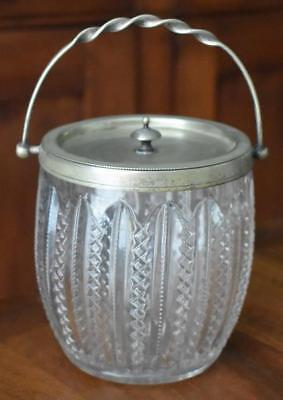 Charming English Silver Plate Trimmed Vertical Zipper Diamond Biscuit Barrel