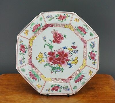 FINE! Antique Chinese Famille Rose Flower Dish Plate Octagonal Rim 18th C QING