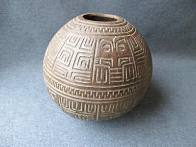 Antique Marquesas Island Carved Coconut Container