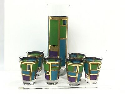 Mid Century RETRO Barware Cocktail Set Pitcher Swizzle Stick Glasses Green Blue