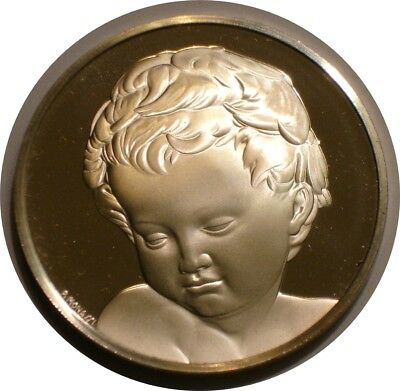 1 + oz Silver Medal HEAD OF CHILD BRUGES MADONNA Genius Of Michelangelo GEM BU