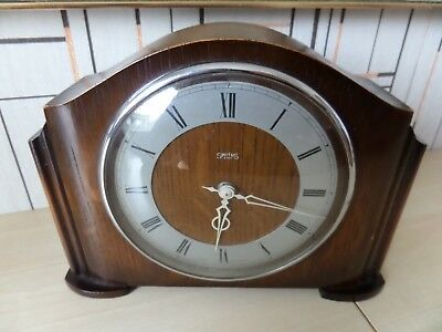 Very Nice Running Vintage Smiths 8 Day Mechanical Hand Wind Wooden Mantle Clock