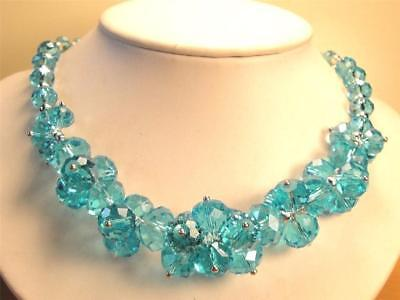 Vintage 70's Ice Blue Aqua Glass Crystal Bead Cluster Necklace