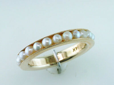 Vintage Antique Art Deco Pearl 14K Gold Wedding Eternity Band Cocktail Ring