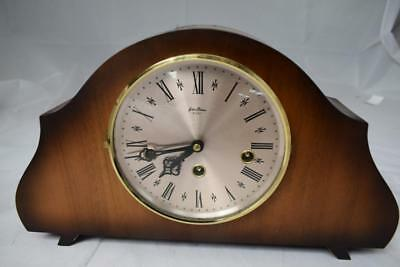 Vintage Bentima 8 Day Chiming Wooden Mantel Clock w key 35cm long by 21cm high